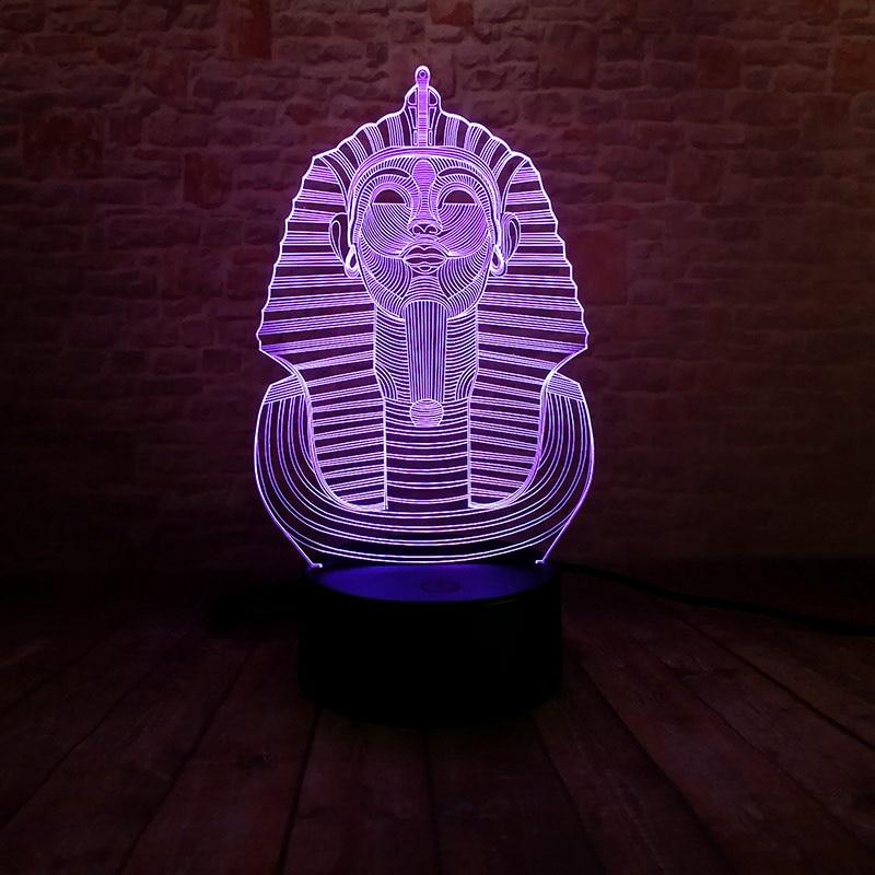 Modelo de juguetes luminosos de Androsphinx, luz nocturna LED de ilusión 3D, luz de hadas de toque colorido, figuras de acción de juguete de Egipto Sphinx