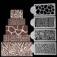 4pcs/Lot Plastic Animal Veins Spray Molds Coffee Cookie Cake Chocolate Printing Stencil DIY Candy Fondant Decorating Tools