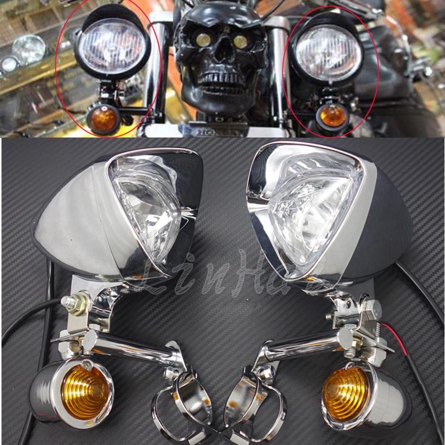 New Chrome Turn Signal LED Driving Passing Spot Fog lights Bar For Touring Chopper Custom Motorcycle