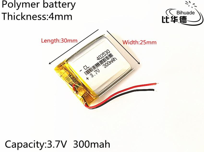 1 Uds. Batería de iones de litio/polímero de litio de 3,7 V,300mAH,402530 PLIB para GPS,mp3,mp4,mp5,dvd,bluetooth, modelo de juguete para bluetooth