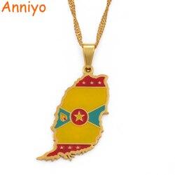Anniyo Gold Farbe Grenada Insel Karte Flagge Anhänger und Wasser Welle Halsketten Schmuck Geschenke #098821