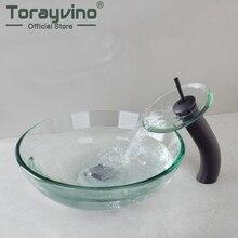 Torayvino набор раковины водопад 3 цвета раковина кран для ванной комнаты раковина умывальник Закаленное стекло ручная роспись Туалет набор лат...