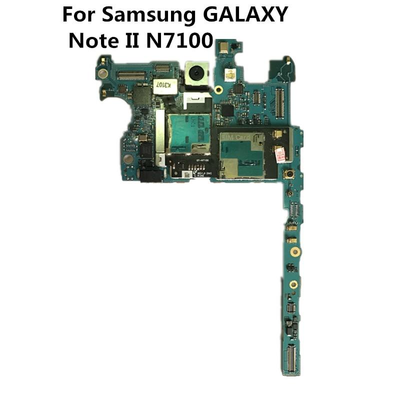 Полностью рабочий оригинальный б/у версия ЕС и разблокированная плата для Samsung GALAXY Note II N7100 материнская плата Logic материнская плата пластина