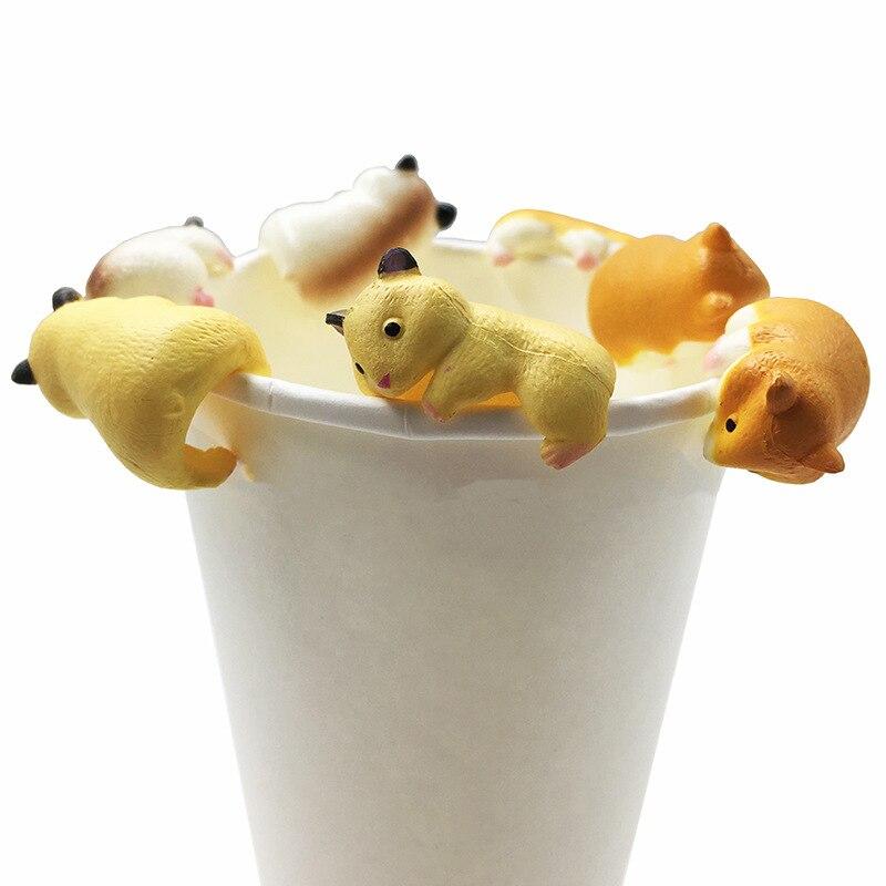 3pcs/set Simulation toys cute pets mini hamsters glass gashapon desktop Kids Toy Cute little animal model