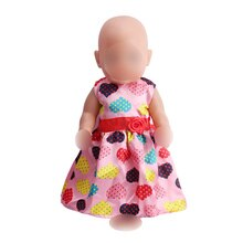 Doll clothes Printed loving pink dress fit 43 cm baby dolls and 18 inch Girl dolls accessories f117