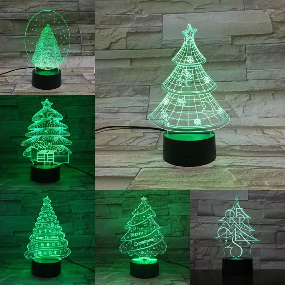 Christmas Tree 3D Lamp 7 Colors Changing Night Light Holiday Atmosphere Lighting Party Home Table Decor Touch Remote Black Base