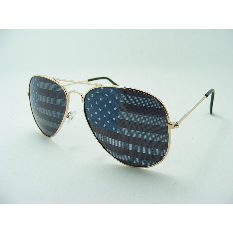Gafas de sol de piloto bandera americana Accesorios de fiesta suministros de decoración Gafas de Metal de doble haz gafas para juegos L3