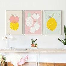 Gohipang-affiches dart en toile de fruits   Imprimés pour pépinières, peinture citron ananas, décoration nordique pour enfants, photos chambre de bébé