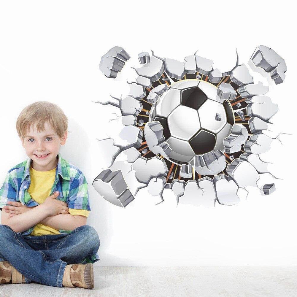 Decoración de dormitorio 2019 creativo 3D balón de fútbol adhesivos de fútbol para pared calcomanía niños dormitorio hogar Decoración deporte niños papel tapiz #45