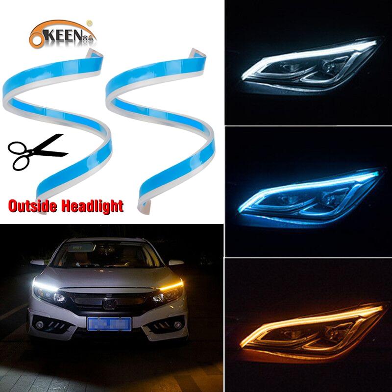 OKEEN 2 uds Slim Flexible drl secuencial LED Switchback Knight Rider tira para la luz de faro cambiante, ámbar de señal de vuelta de las luces
