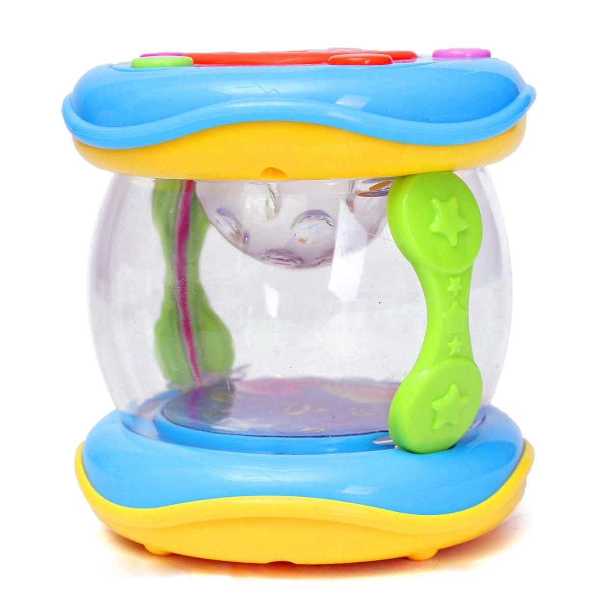Rollo de plástico LED tambor instrumentos de música preescolares chicos, niños, bebés juguete, tambor