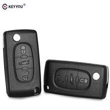 Keyyou chave eletrônica para citroen, nova carcaça de chave com 3 botões para chave remota, para citroen c2 c3 c4 c5 c6 c8 capa descorte com hu83/va2 lâmina