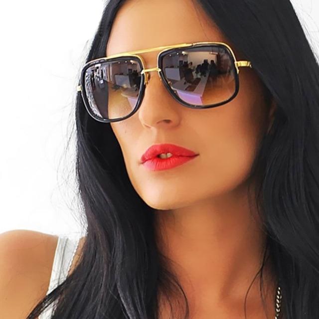 NEW Sunglasses Men Flat Top Hot Women Luxury Brand Design Couple Lady Celebrity Brad Pitt Sun Glasse
