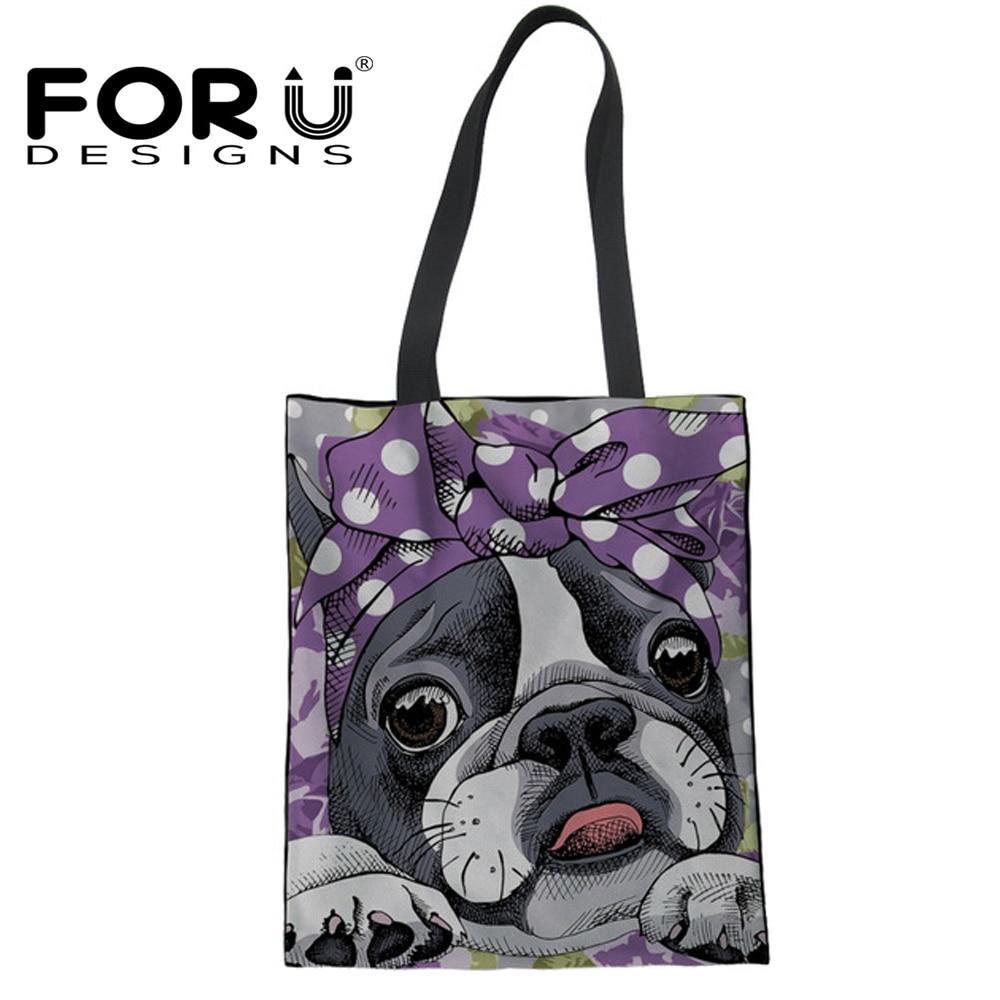 FORUDESIGNS Cute Boston Terrier Pattern Casual Mom Large Shopping Bags Fashion Canvas Reusable Womens Tote Bags Eco Handbag Bag