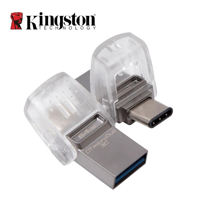 Kingston USB Flash Drive 64GB 32GB 16GB USB 3,1 tipo-C Pendrive Stick de memoria usb 3,0 de datos Digital viajero Micro cle USB