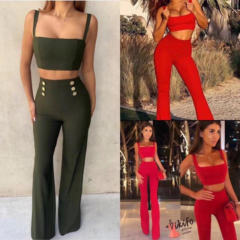 2019 nueva moda sexy de dos 2 piezas de las mujeres del ejército rojo verde negro vendaje top y pantalones sexy sin mangas bota corta de verano desgaste del club