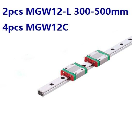 2pcs Original HIWIN guia linear/trilho MGW12-L 300mm/400mm/500mm + 4pcs MGW12C Mini blocos para 12 milímetros Em Miniatura CNC peças
