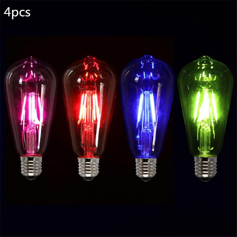 4 unids/lote rosa azul verde rojo Color cálido ST64 4W luz con...