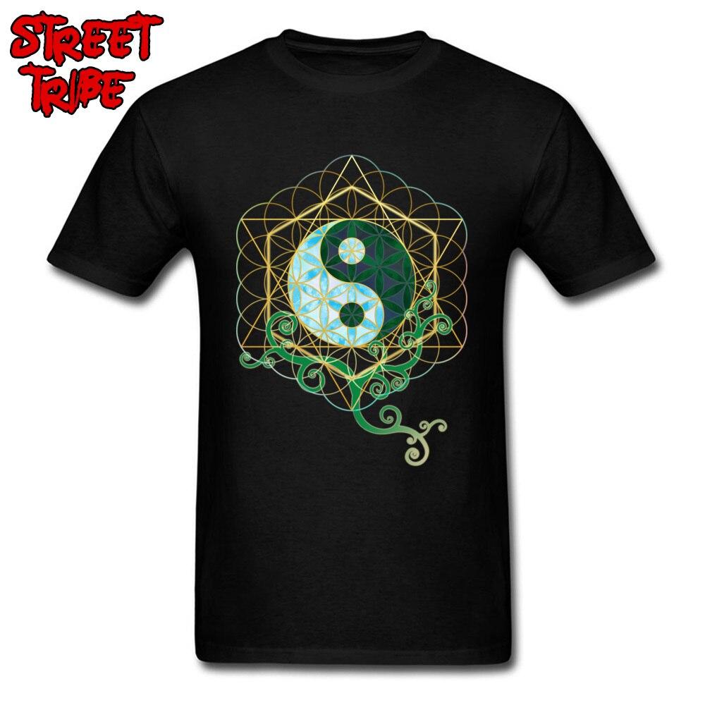 Camiseta Yin Yang para hombre, gráfico geométrico chino, camisetas para hombre, cuello redondo, manga corta, Camiseta de algodón con equilibrio, camisetas divertidas de alta calidad