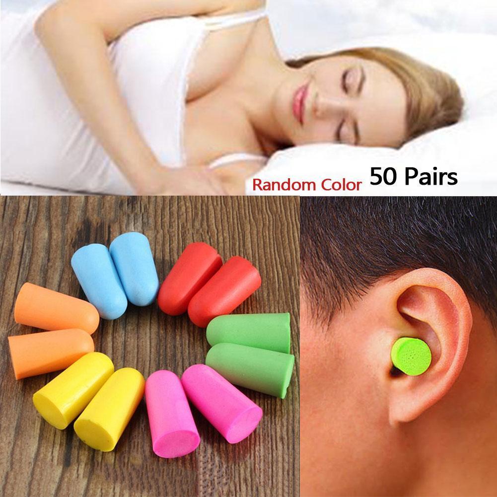 50 Pairs/lot Soft Foam Ear Plug for Noise Reduction Foam Earplug for Anti-interferen noise Insulation Prevention Beauty care set