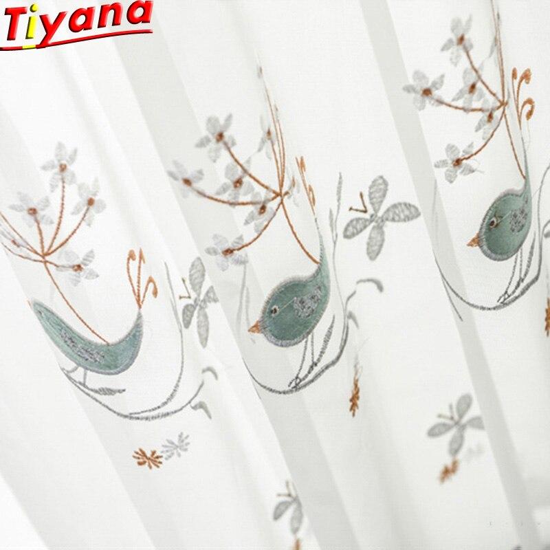 Vogel Bestickt Tüll für Schlafzimmer Wohnzimmer Kis Zimmer Spitze Vorhänge anpassbare Weiß Exquisite Tüll X-M064 #30