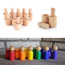 Śliczne 5/10 sztuk/zestaw niepomalowane puste drewniany kołek ludzi zagnieżdżania zestaw lalki peg rzemiosła DIY Montessori zabawki kreatywne zabawka dla dzieci ślub strona główna