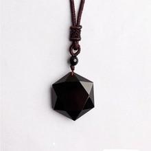 En gros véritable obsidienne naturelle pierre pendentifs Six étoiles pendentif énergie pierre collier chandail chaîne bijoux de mode