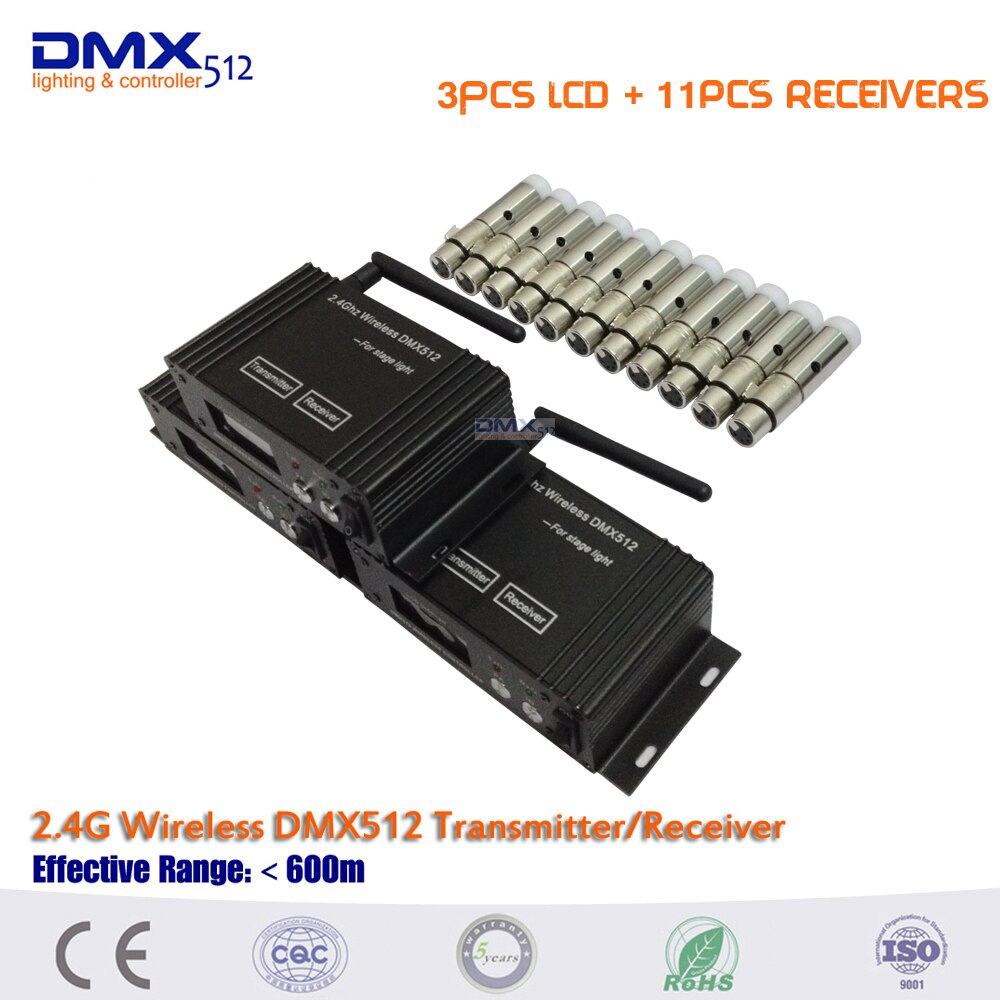 DHLFree الشحن 14 قطعة/الوحدة نوعية جيدة 2.4G اللاسلكية DMX512 الارسال والاستقبال اللاسلكية للتحكم عن بعد led الاسمية ضوء