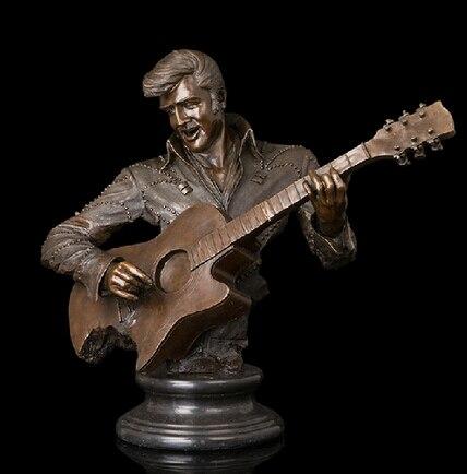 Decoración de cobre, figura de escultura de bronce de Buda, famoso Rock Roll Star para hombre, guitarra musical Elvis Presley aron
