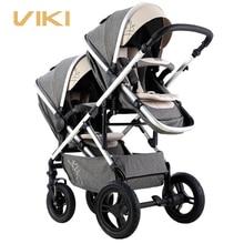 VIKI многофункциональная детская коляска для близнецов, двухходовая коляска для близнецов, коляска для 2 детей, двунаправленная, может сидеть...