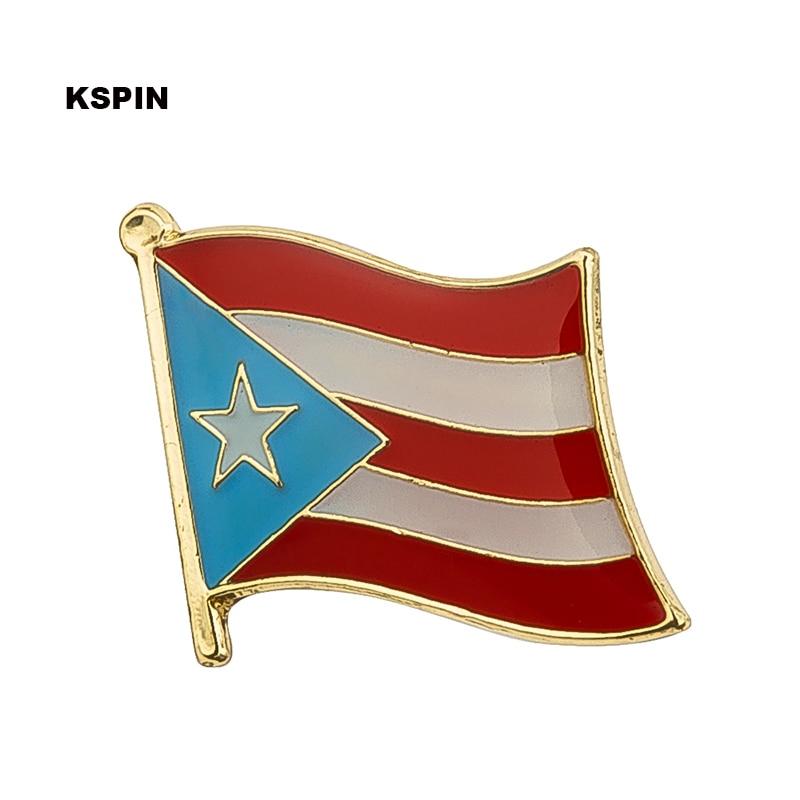 Pin de solapa con bandera de PUERTO RICO, insignias para prendas de vestir en parches, Rozety Papierowe Icon mochila KS-0239