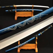 Samouraï japonais plié fait à la main   En acier plié, damas Katana complet épée de Dragon en argile, lame tempérée tranchante, vrai Hamon de 41 pouces