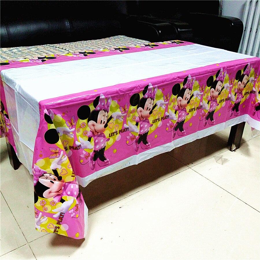 108*180cm rojo rosa Minnie Mouse mantel niños niñas cumpleaños decoración desechable mantel cubierta bebé Showe fiesta suministros