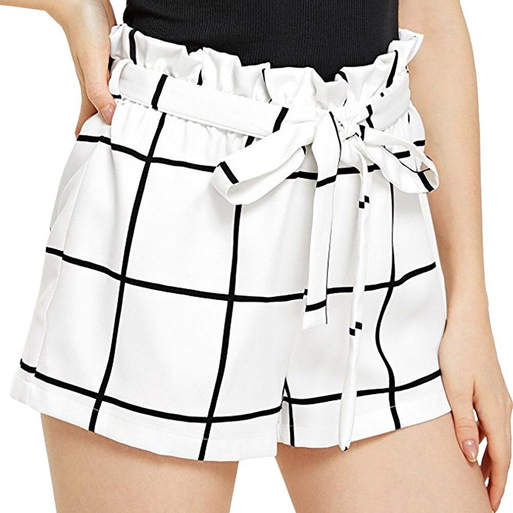 Pantalones cortos para mujer a cuadros medio suelto cintura caliente pantalones cortos Jersey pantalones cortos para caminar feminino spodenki damskie