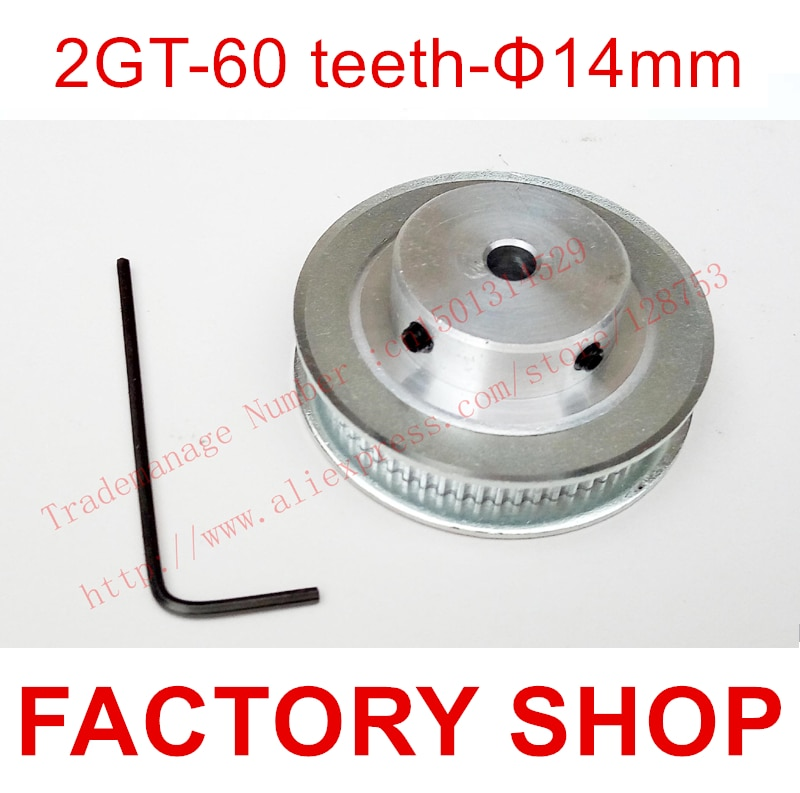1pcs 60 teeth Bore 14mm GT2 Timing Pulley fit width 6mm of 2GT Belt 3D  Free shipping