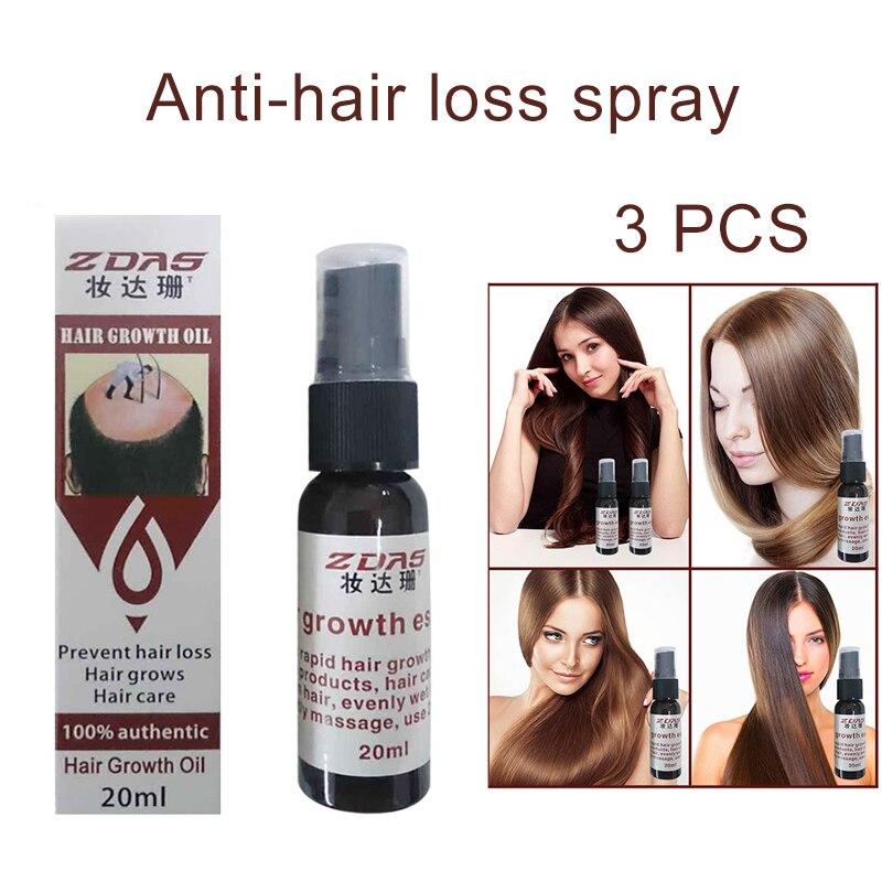 Mejor 3 uds cuidado del cabello Spray restauración de la pérdida de cabello tratamiento líquido denso crecimiento rápido QQ99