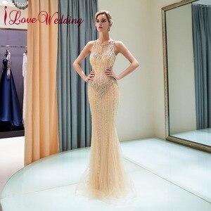iLoveWedding Abiye gece elbisesi O Neck Sheer Beaded Sleeveless Champagne gold Tulle Formal Long Mermaid Evening Gowns
