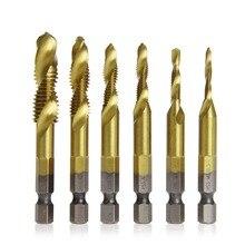 6 pièces/ensemble HSS4241 forets enduits de titane tige hexagonale M3-M10 de robinet en spirale