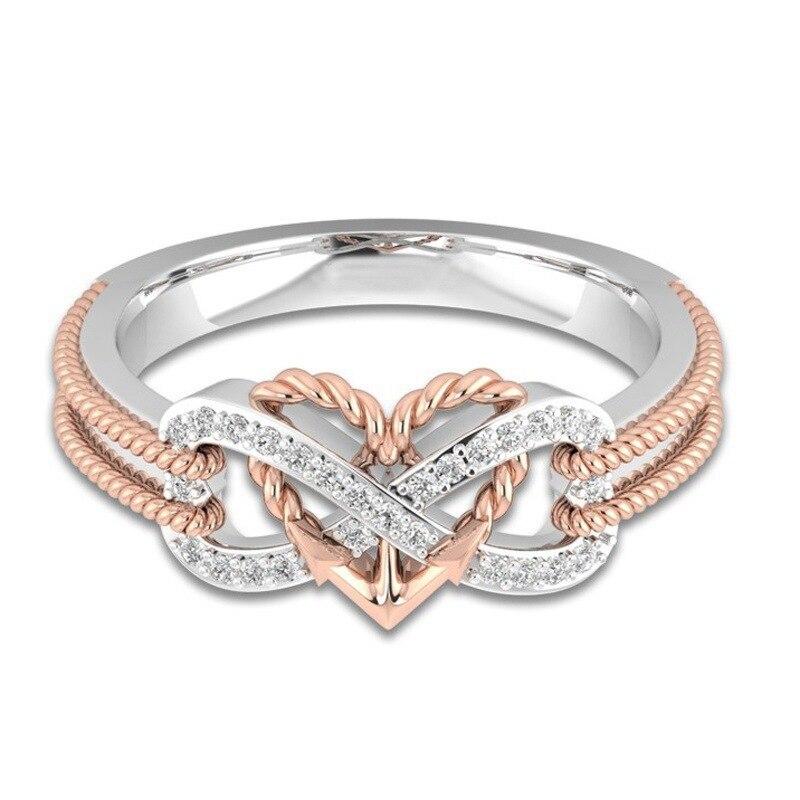 Marcatsa חבל עוגן אינסוף מכתב 8 טבעת אירוסין זוגי צבע בצורת לב AAA מעוקב Zirconia חתונה לנשים