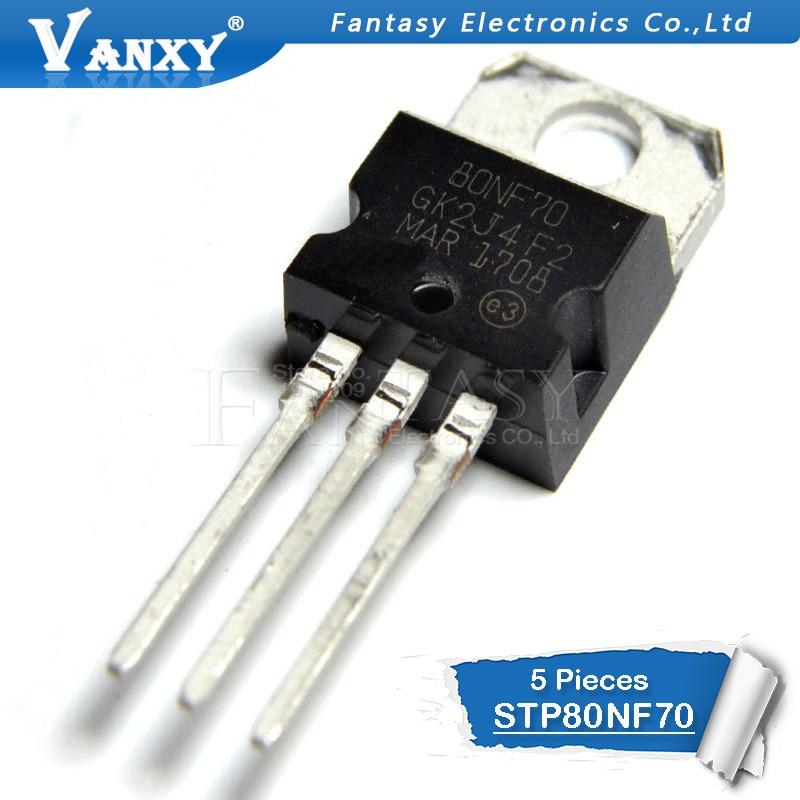 5 pces stp80nf70 to220 p80nf70 to-220 80nf70 novo e original ic