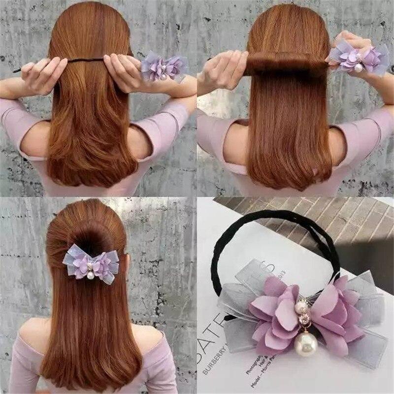 Mulheres updo flor mágica bun maker ferramenta menina donut dispositivo rápido bagunçado pérola faixas de cabelo diy ferramentas penteado acessórios para o cabelo