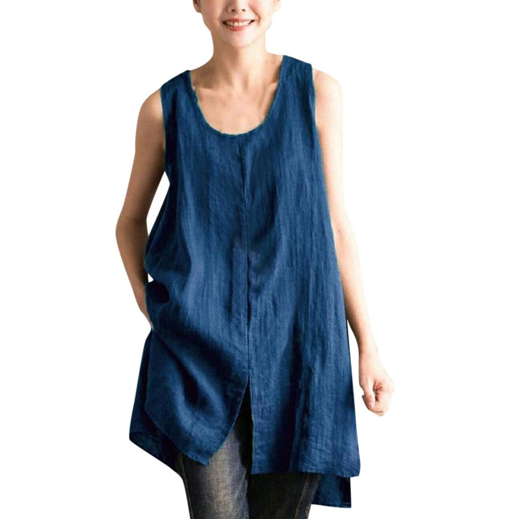 Blusas tipo túnica de talla grande, blusa asimétrica para mujer, Blusas de lino con estilo para mujer, Blusas sin mangas de verano, camisas tipo túnica