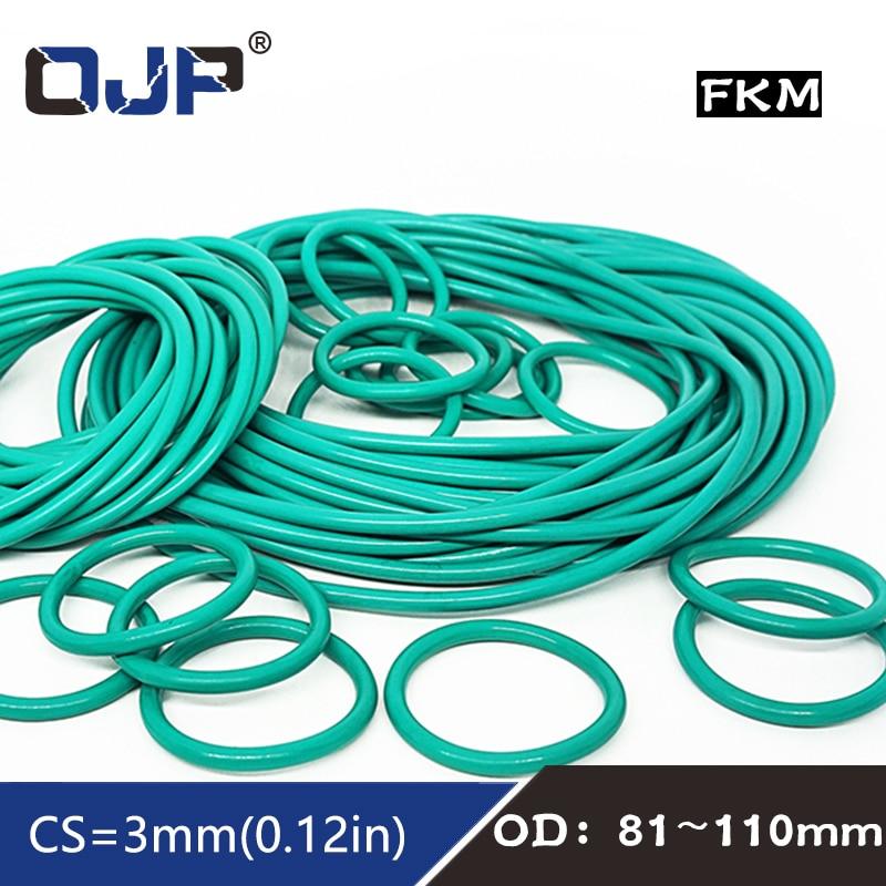 1 anillo de goma fluorada verde FKM O sello de anillo OD81/85/88/90/91/92/95/96/100/105/110*3mm junta tórica de goma arandela para juntas