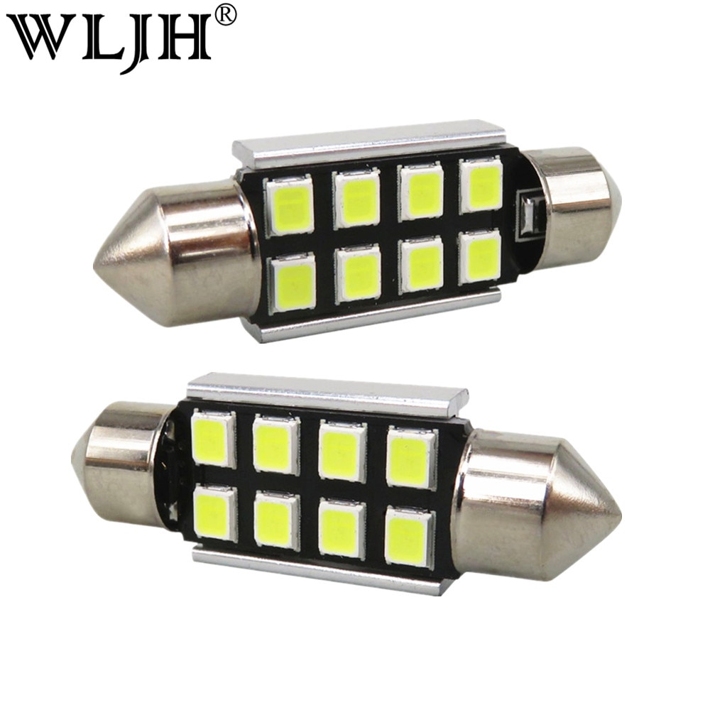 WLJH 10x LED 36mm White CANbus C5W Bulbs 2835SMD Interior Lights License Plate Light For BMW E39 E36 E46 E90 E60 E30 E53 E70