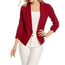 New Fashion Women 3/4 Sleeve Blazer Open Front Short Cardigan Suit Jacket Work Casual Office Coat vetement femme clothes W626