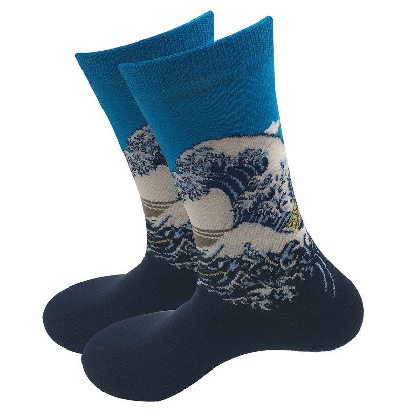 1 par de calcetines artísticos para hombre y mujer, calcetines de vestir de alta calidad, calcetines de algodón feliz peinados con diseño colorido, regalo de boda
