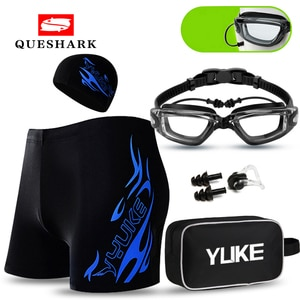 Anti-Fog HD Swimming Goggles Glasses with Hat and Ear Plug Nose Clip Swimsuit Swim Shorts for Men Transparent Swim Glasses Suit