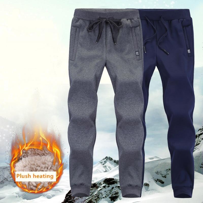 Толстые флисовые штаны для бега, мужские хлопковые брюки, мужские зимние теплые бархатные спортивные штаны, спортивный костюм, джоггеры на ...