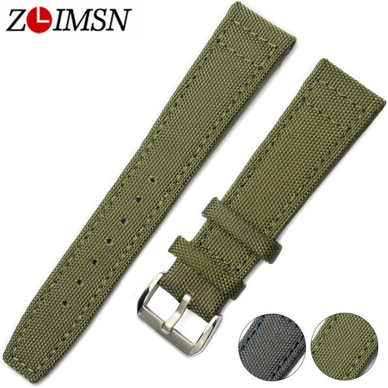 ZLIMSN bandas de Nylon planta de cuero hombres mujeres ver bandas de reemplazo 20 22mm correas de reloj Verde Negro hebilla de Pin de acero inoxidable