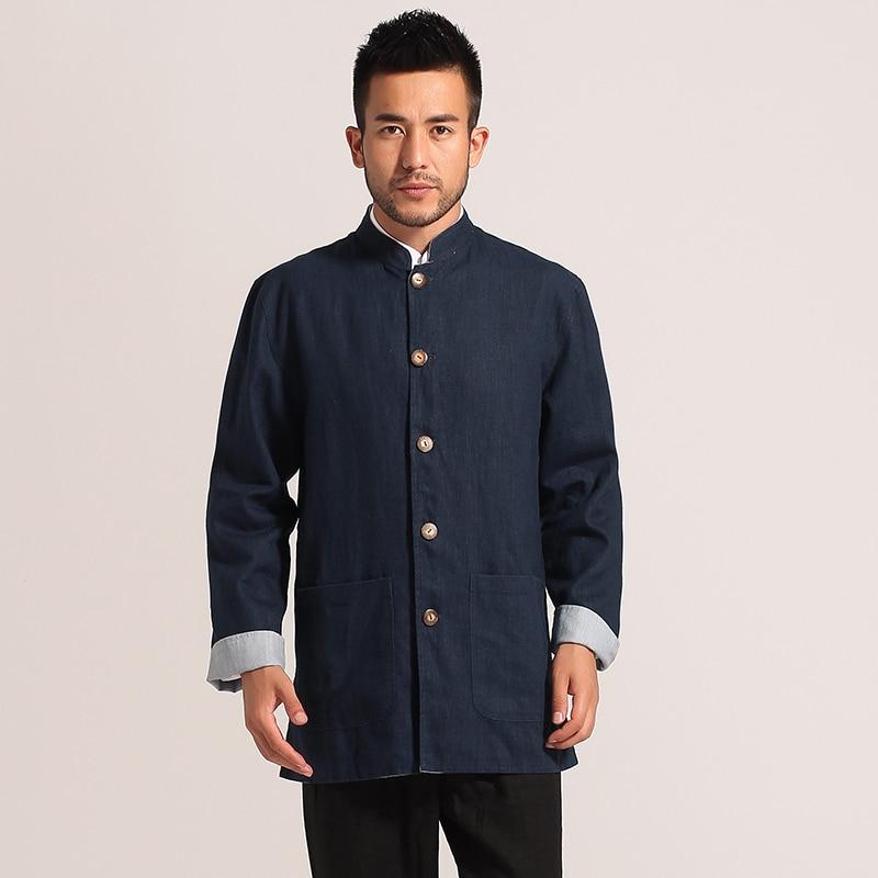 Azul Marino Beige dos caras de algodón de lino de los hombres de estilo chino Reversible chaqueta de kungfú sobretodo tamaño M L XL XXL XXXL MN011